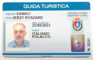Jerzy Sawko - legitymacja przewodnika w Rzymie