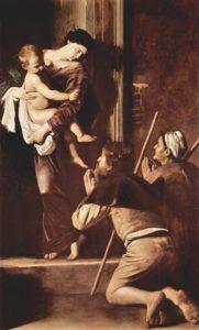 """Rzym - przewodnik - bazylika Sant'Agostino - """"Madonna Pielgrzymów"""" Caravaggia"""