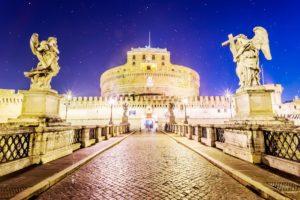 Rzym - Most i Zamek św. Anioła nocą